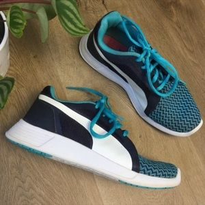 Puma Blue White Athletic Sneakers 5.5
